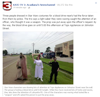 #Lafayette police mistake Light Sabre for weapon | #Louisiana