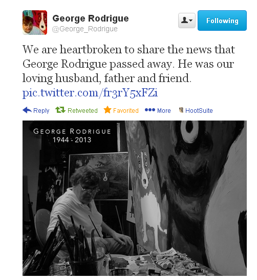 #RIP George Rodrigue 1944-2013 #Louisiana #BlueDog