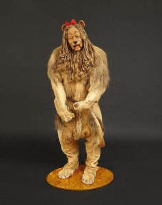 "The Cowardly Lion costume worn by Bert Lahr in the 1939 classic ""The Wizard of Oz"" sold for nearly $3.1 million. (Credit: Bonhams)"