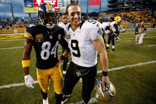 Antonio Brown #84 of the Pittsburgh Steelers congratulates Drew Brees #9 of the New Orleans Saints after New Orleans 35-32 win at Heinz Field on November 30, 2014 in Pittsburgh, Pennsylvania.  (Photo by Gregory Shamus/Getty Images)