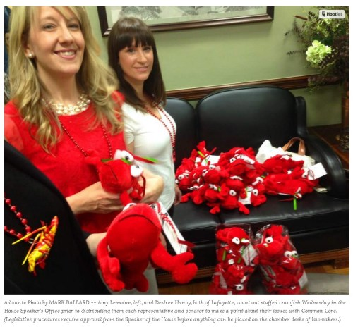 Why Common Core opponents passed out red crawfish dolls to Louisiana lawmakers today